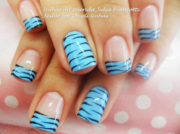 blue zebra french nails
