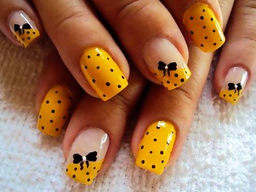 bows black dots yellow nails