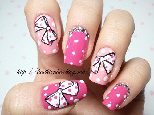 bows dots rhinestones pink nails