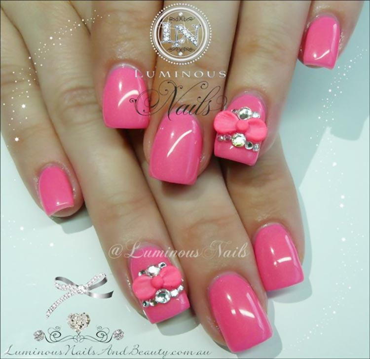 bows rhinestones bubblegum pink nails