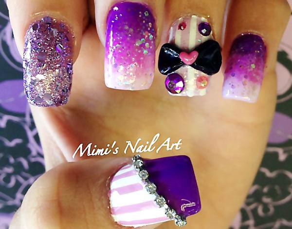 bows rhinestones purple glitter gradient nails