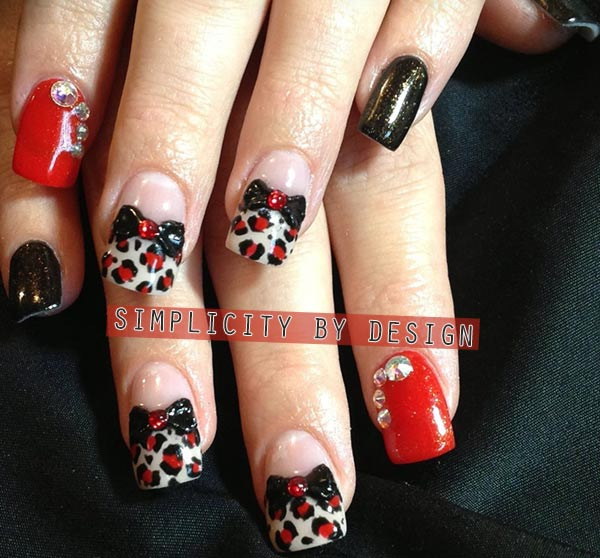 bows rhinestones red black glam nails