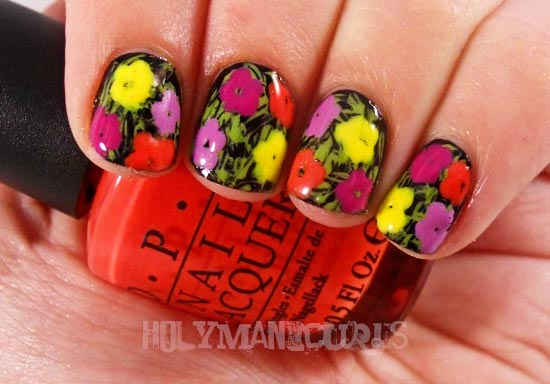 bright flowers summer nails