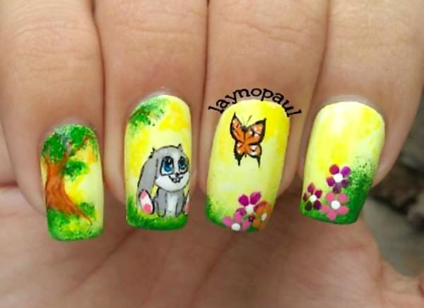 bunny butterfly flowers trees freehand art nails