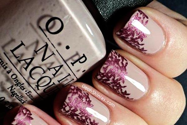 burgundy flowers beige nails
