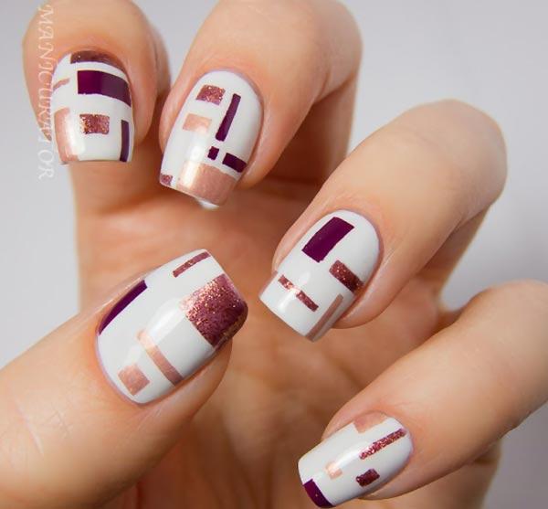 burgundy geometry white artsy nails