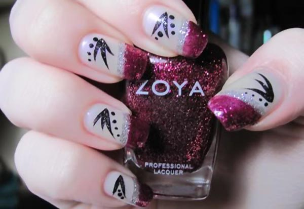 black detail burgundy glitter french nails