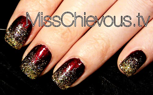 burgundy golden glitter Christmas nails