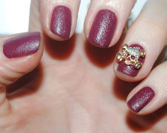 burgundy leather nails