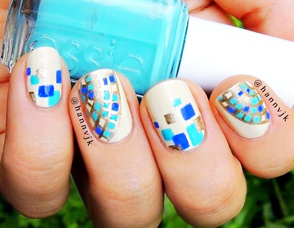 butter blue mosaic nails