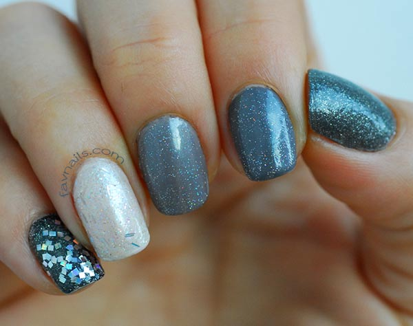 butter grey gradient shimmer glitter fall nails