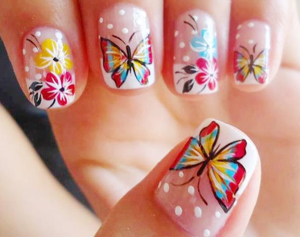 butterflies flowers dots french spring nails