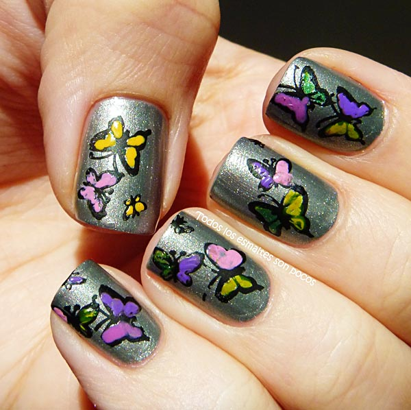 butterflies silver nails