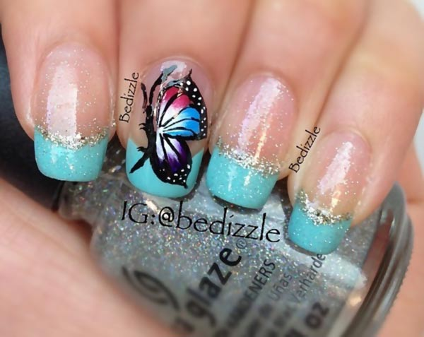 butterfly accent teal glitter french nails