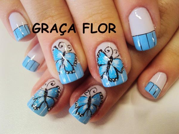 butterfly blue striped french nails