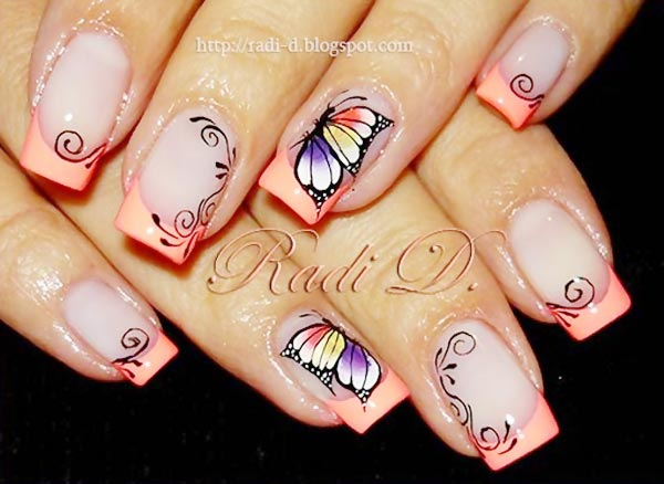butterfly coral tips french nails