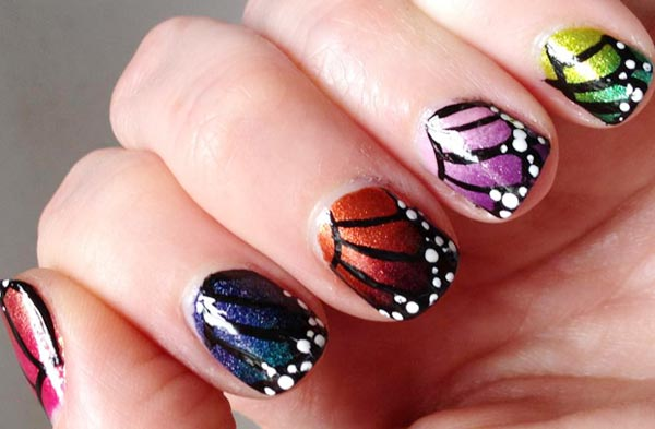 butterfly wings colorful gradient spring nails