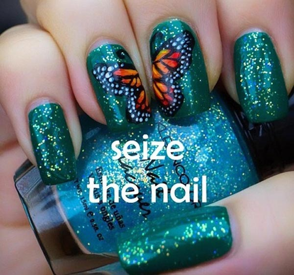 butterfly wings green glitter nails