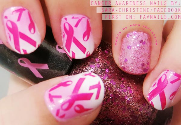 cancer awareness glitter pink stamped nails