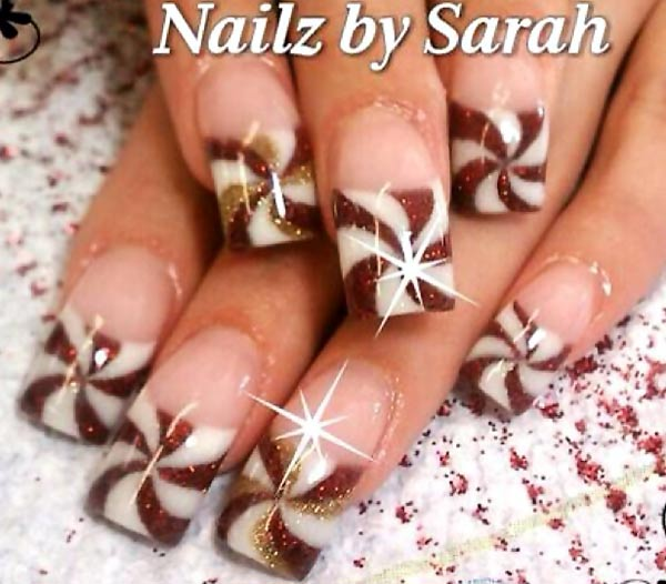 caramel pinwheel french nails