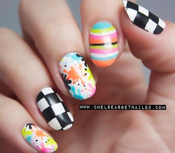 checkered splatter striped mix nails