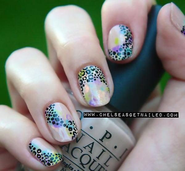 leopard accents delicate gradient nails