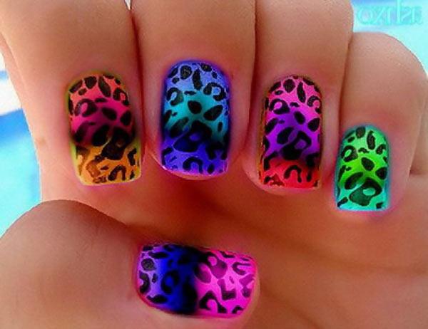 cheetah gradient neon summer rainbow nails
