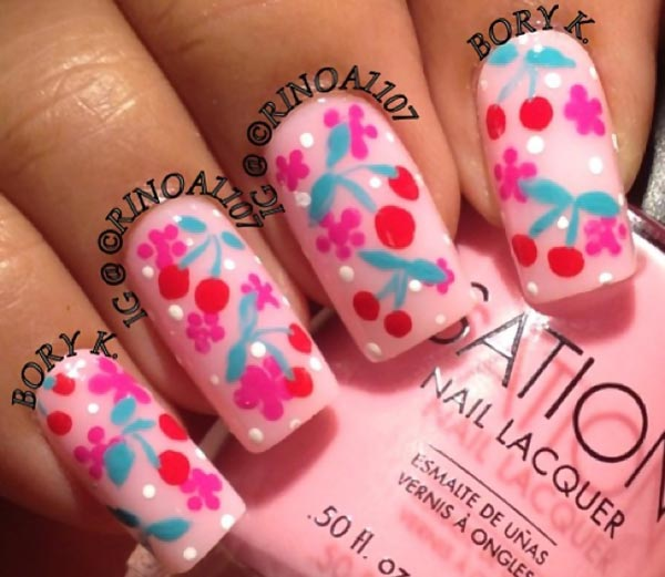 cherry flowers pink summer nails