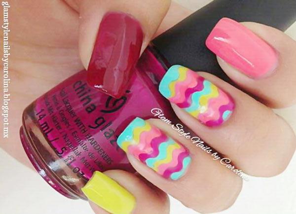 chevron accents color mix summer nails