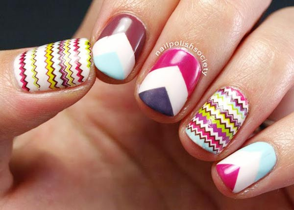 chevron missoni geometry nails