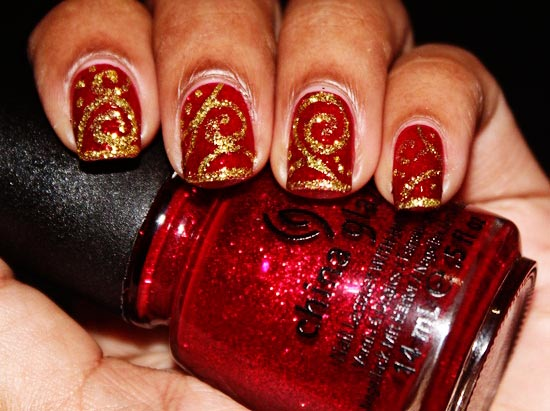 christmas decorated nails