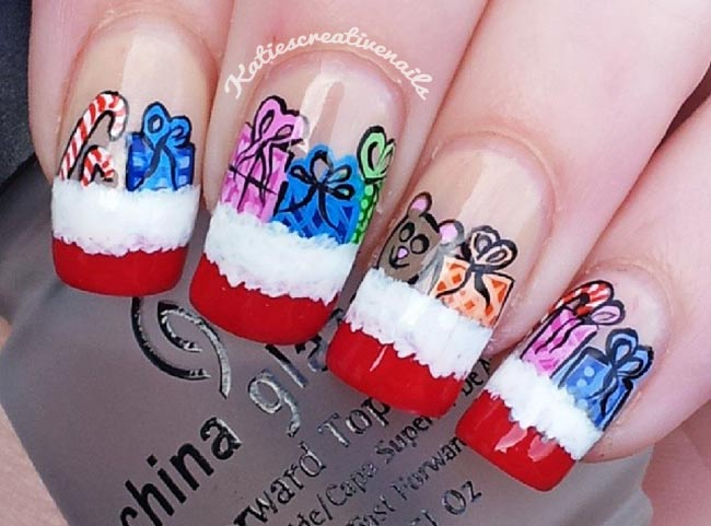 christmas gifts snow french nails