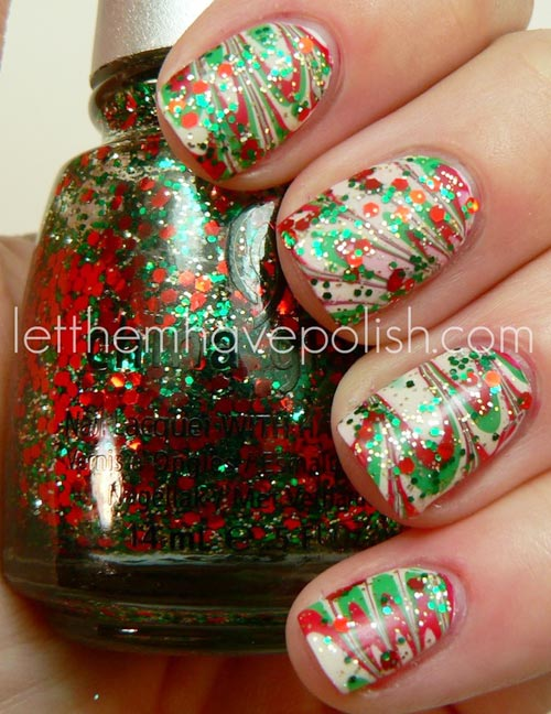 Christmas glitter marbled nails