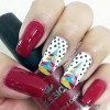christmas tree dotted red christmas nails