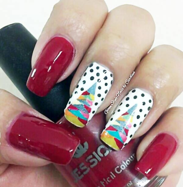 christmas tree dotted red christmas nails - Red Christmas Nails