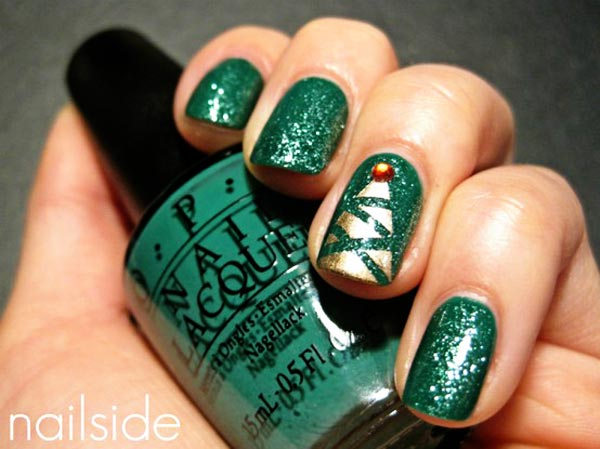 christmas tree green nails