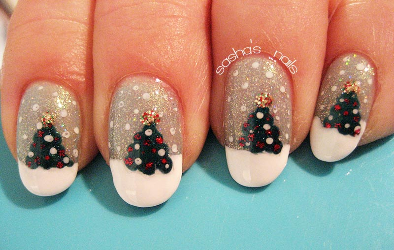 christmas tree snow glitter winter nails