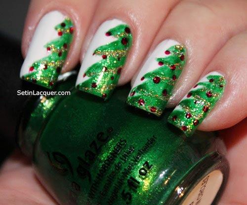 Christmas trees white nails