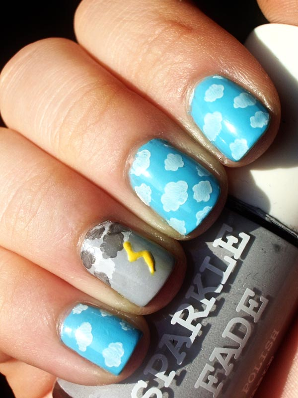 clouds lightbolt nails