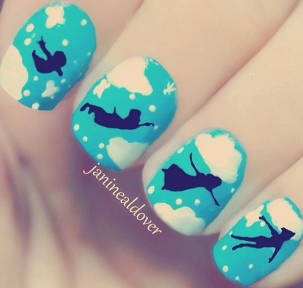white clouds peter pan blue nails