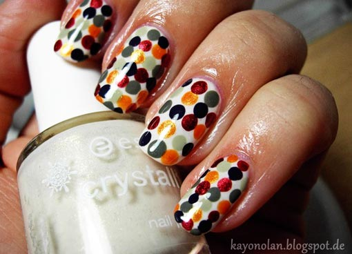 colored dots on white nails