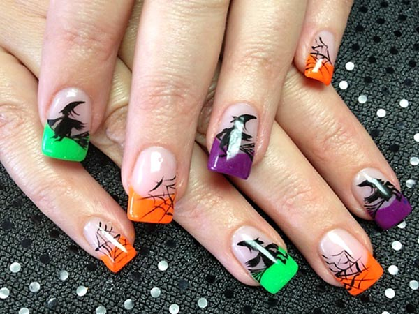 colored tips black halloween art french nails