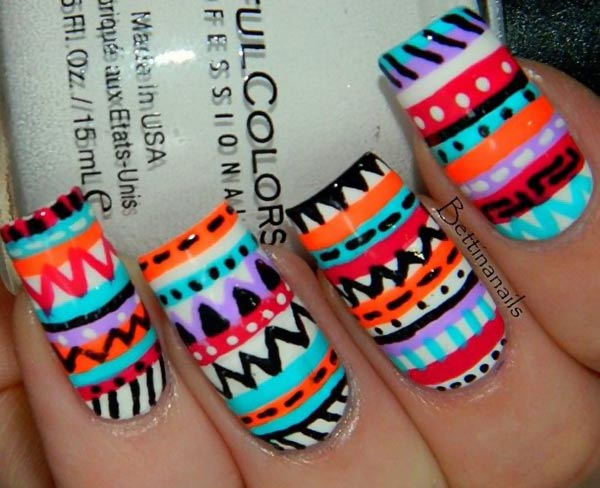 colorful aztec tribal freehand nails