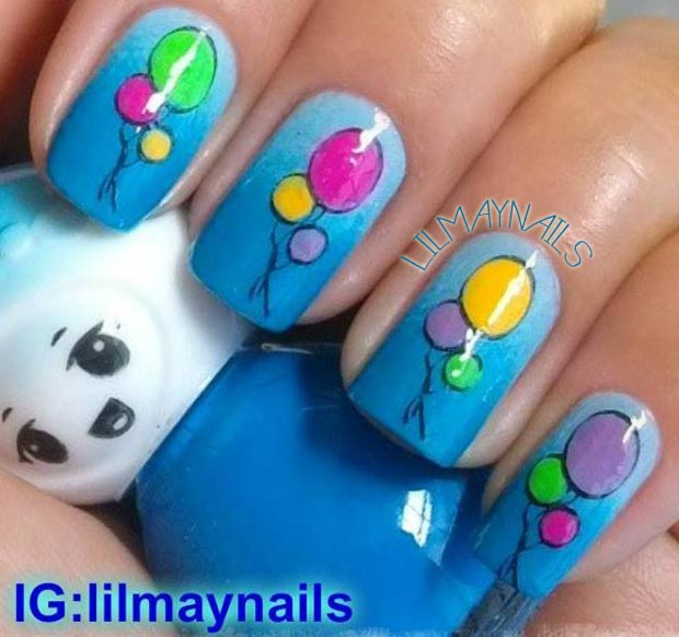 colorful balloons blue gradient birthday nails
