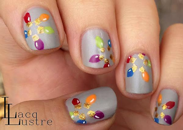 colorful baubles grey christmas nails