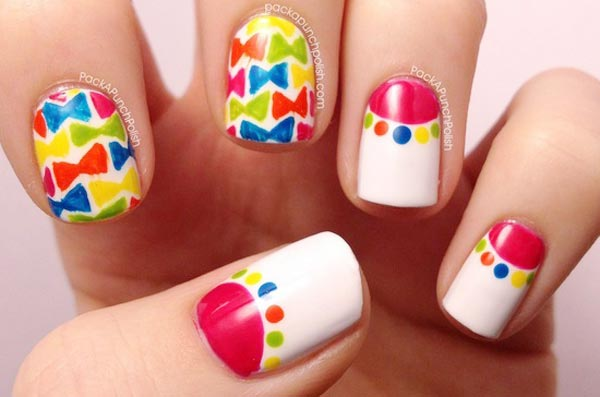 colorful bows dots halfmoon spring nails