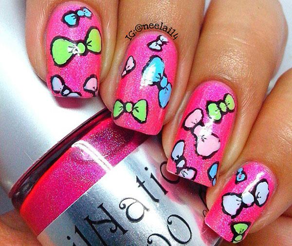 colorful bows pink shimmer girly nails