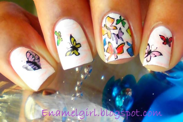 colorful butterflies white spring nails
