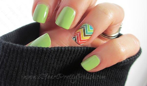 colorful chevron accent mint nails