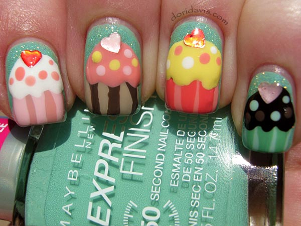 colorful cupcakes party nails